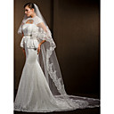Wedding Veils Womens Elegant Tulle Two-tier Lace Applique Edge Veils