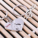 Heart Music Wedding Key Ring Keychain for Lover Valentines Day(One Pair)