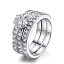 TC Womens 3 in 1 18k White Gold Plated Classic Stack 3 Paved Bands Cz Stone Engagement Ring Set