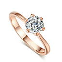 TC Womens 18k Rose Gold Plated Classic 6 Prong Sparkling Solitaire 1ct Cz Wedding Ring