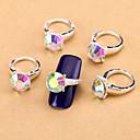 New 10PCS AB Nail Art Jewelry Pinkie Nail Rings Alloy Rhinestone Aryclic Nail Tips Decorations