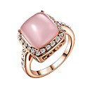 TC Womens Sparkling 18k Rose Gold Plated Austrian Pink Opal Stone Valentines Day Gift Ring