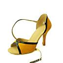 Customizable Womens Dance Shoes Latin/Salsa Flocking Customized Heel Black/Yellow