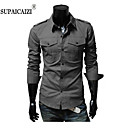 SPCZ Mens Fashion Double Pocket A man with Male Leisure Pure Color Long Sleeve Shirt