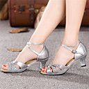 Womens Dance Shoes Latin Patent Leather Chunky Heel Blue/Red/Silver/Gold