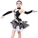 High-quality Spandex with Appliques Latin Dance Dresses for Childrens Performance/Training Kids Dance Costumes