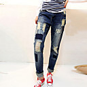 Womens Large Patch Holes Loose Jeans