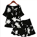 Womens Sexy Casual Print Cute Plus Sizes Inelastic ½ Length Sleeve Above Knee Dress (Polyester)
