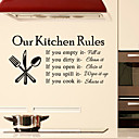 Wall Stickers Wall Decals Style Kitchen Rules English Words  Quotes PVC Wall Stickers