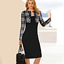 Womens Vintage Fashion New Patchwork Round Neck Long Sleeve Bodycon Dress