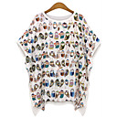 Womens Sexy Beach Casual Plus Sizes Inelastic ½ Length Sleeve Long T-shirt (Cotton)