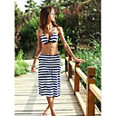 Womens Push-up/Wireless Color Block Bandeau Cover-Ups (Polyester)