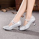 Non Customizable Womens Dance Shoes Modern Leather Cuban Heel Outdoor Silver/Gold