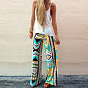 Womens Sexy Casual Print Cute Plus Sizes Inelastic Thin Loose Pants (Polyester)