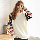 Womens Print White Hoodies , Casual Round Neck Long Sleeve