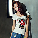 Womens Vintage/Sexy/Beach/Casual/Print/Cute/Party/Work   Short Sleeve Regular T-shirt