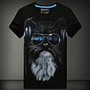 Mens 3D Printing Round Neck Short-Sleeve Cotton T-