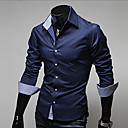 Yoonheel Mens Long Sleeve Shirt,Cotton / Polyester Casual / Work / Formal Solid