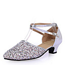 Womens Dance Shoes Sandals PailletteLow Heel Gold/Silver