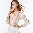 Womens V Neck Bow Shirt , Red/Beige Casual/Work Long Sleeve