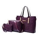 Image of Per donna Sacchetti Vernice / PU Tote / Borsa a tracolla / sacchetto regola Set di borsa da 3 pezzi Tinta unita Nero / Viola / Rosso