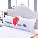 Set of 2 LOVE Cute Pillow Cases Heart Together Super Soft Pillow Cover for Wedding Valentines Gift