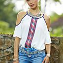 Womens Print White T-shirt , Round Neck Short Sleeve