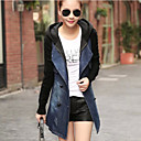 Womens Patchwork Blue Denim / Knitwear Hooded Trench Coat , Casual