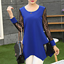 Womens Patchwork / Lace Blue / Black / Green Blouse , Round Neck Long Sleeve Plus Size