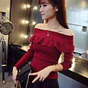 Women's Fashion All Match Solid Pullover , Casual/Work Long Sleeve Ruffle