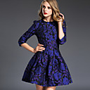Womens Jacquard Blue Dress Vintage  Party Round Neck Sleeve