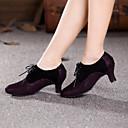 Non Customizable Womens Dance Shoes Modern Suede Cuban Heel Yellow / Fuchsia