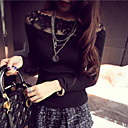 Womens Lace Splicing Bateau Slim All Match Pullover , Casual Long Sleeve