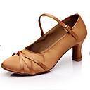 Customizable Womens Girls Dance Shoes Latin / Salsa / Samba /Ballroom Satin Customized Heel Brown