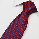 Red Dark Blue Diamond Pattern Men Polyester Yarn Tie Necktie