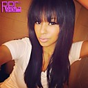 Natural Straight Human Hair Lace Front Brazilian Wigs Virgin Human Hair Wigs with Bangs For Fashion Girls