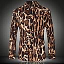 Mens Casual Fashion Leopard Print Long Sleeved Shirt , Cotton