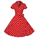 Classic  Traditional Lolita Short Sleeve Medium Length Red Cotton Lolita Dress