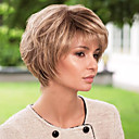 Fluffy Short Wavy Human Hair Capless Virgin Remy Mono Top Woman's Wig