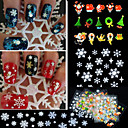 12PCS Mixed  3D Christmas Snowflake Feather Christmas tree Nail Art Stickers