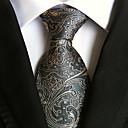 Men Wedding Cocktail Necktie At Work Gray Yellow Tie