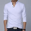 Mens Fashion Letter Print V Collar Slim Long Sleeved Polo