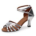 Customizable Womens Dance Shoes Latin / Salsa / Samba Leatherette Customized Heel Silver / Gold