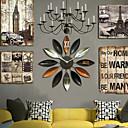 E-HOME  Brown Flower Shape Metal Wall Clock One Pcs