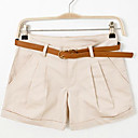 Womens Solid Pink / White / Black / Green / Yellow / Beige Shorts Pants , Casual