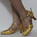 Customizable Womens Dance Shoes Latin/Standard Shoes Leatherette Customized Heel Chocolate