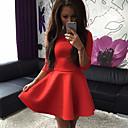 Womens Elegant Pure Color Round ½ Length Sleeve Princess Slim Dress
