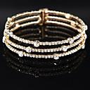 Womens 18k Golden Silver Multilayer Elastic Bangle Bracelet with Crystal for Wedding Party
