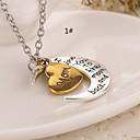 Moon Heart Love Mom Dad Alloy Pendant Necklace