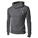 Mens Plus Size Solid Black/Brown/Dark Gray Hoody,Casual Stand Longe Sleeve Zipper